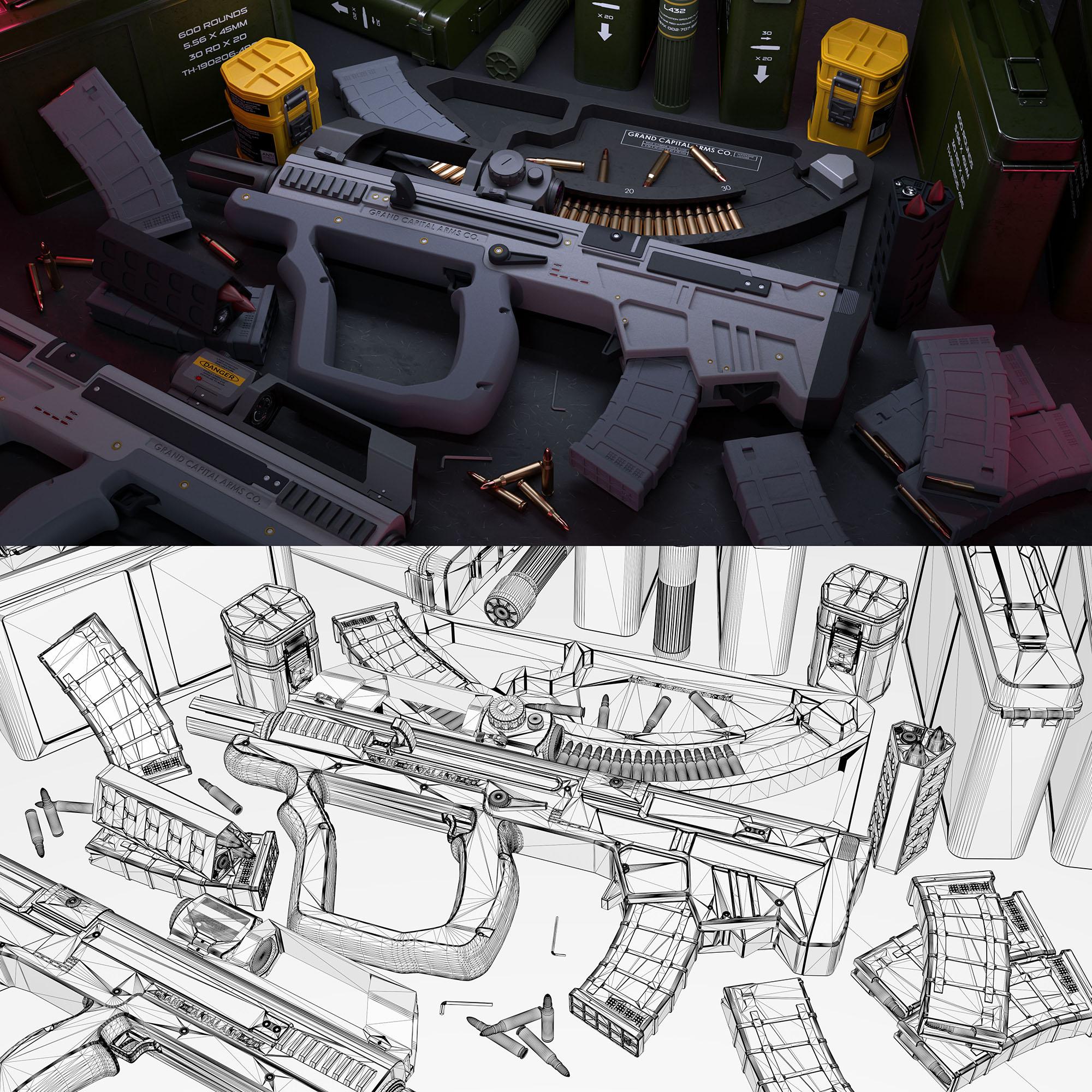 Three D Guns 2 WiP - 'Short Bow' Carbine