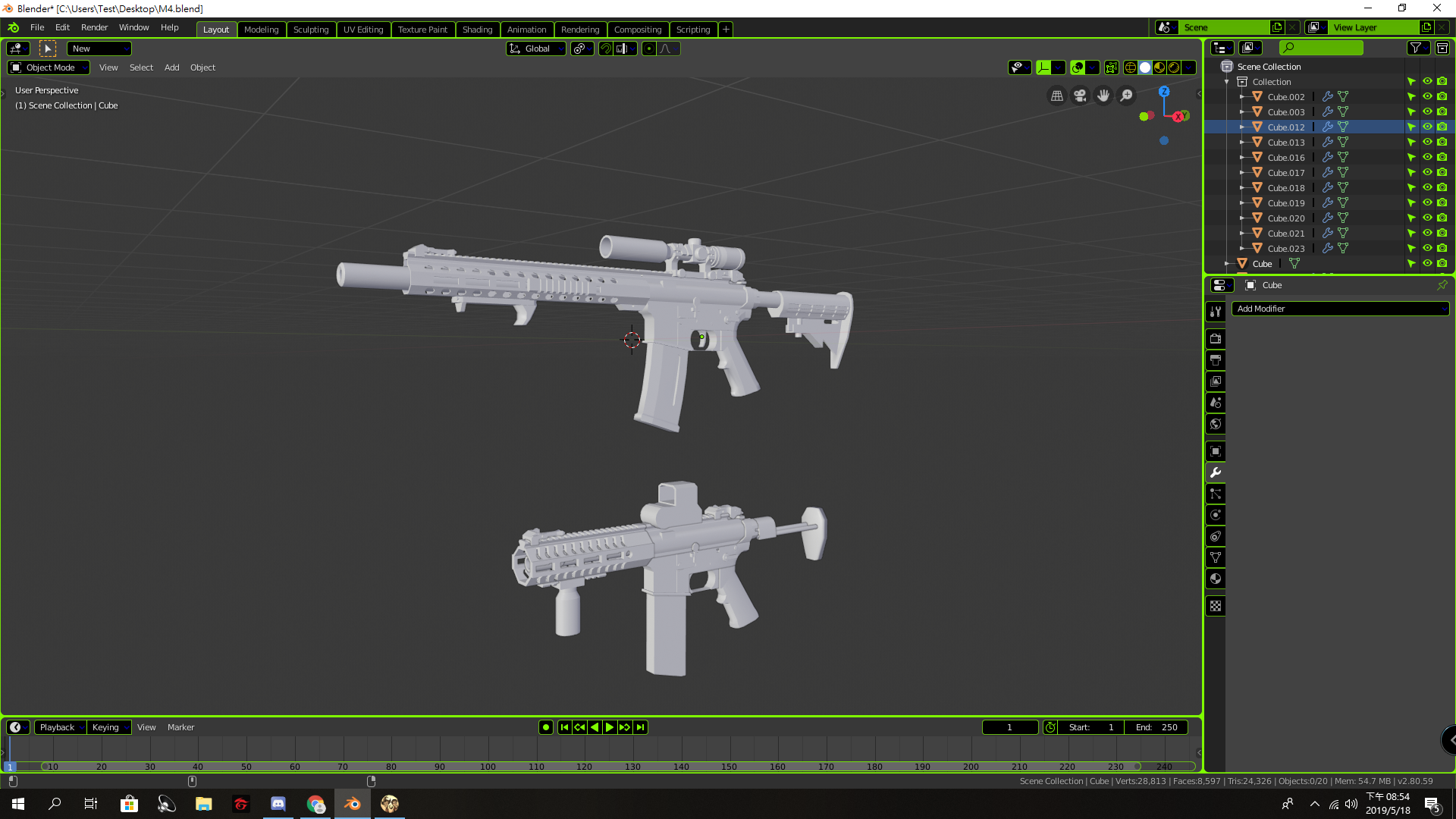 Three D guns 2 M4 Carbines