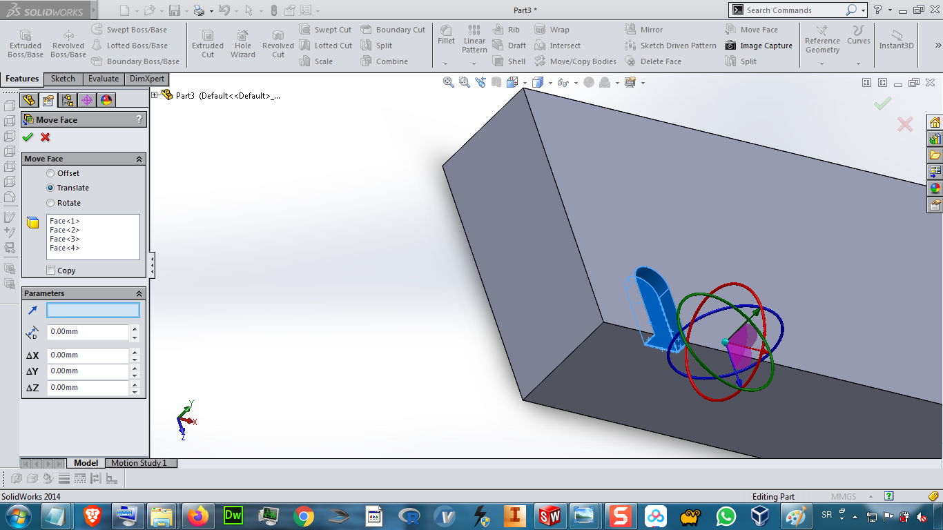 How to move feature of part using Move Body command in Solidworks ?